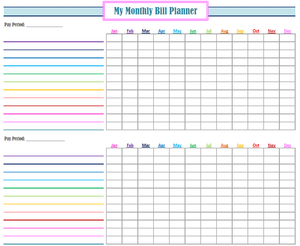 Monthly Bill Organizer Printable