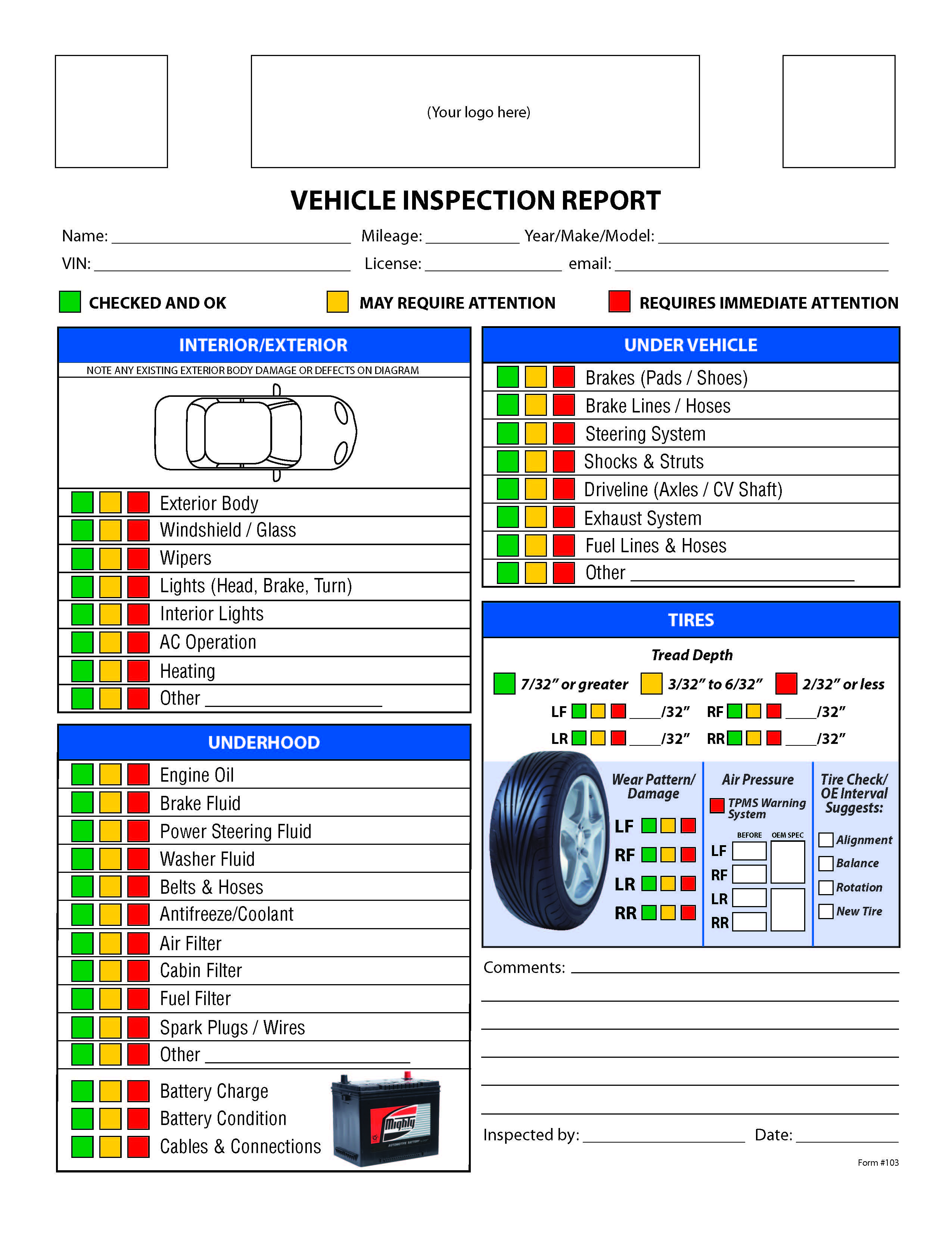 Printable Vehicle Inspection Checklist