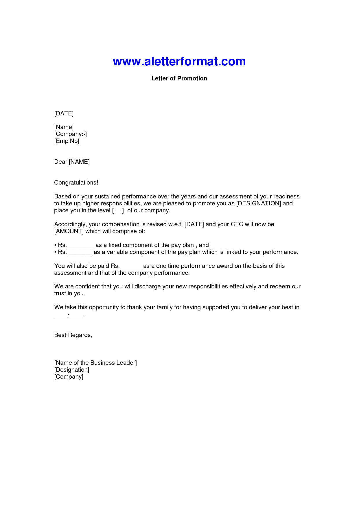Best Photos Of Justification For Promotion Letter Job Sample