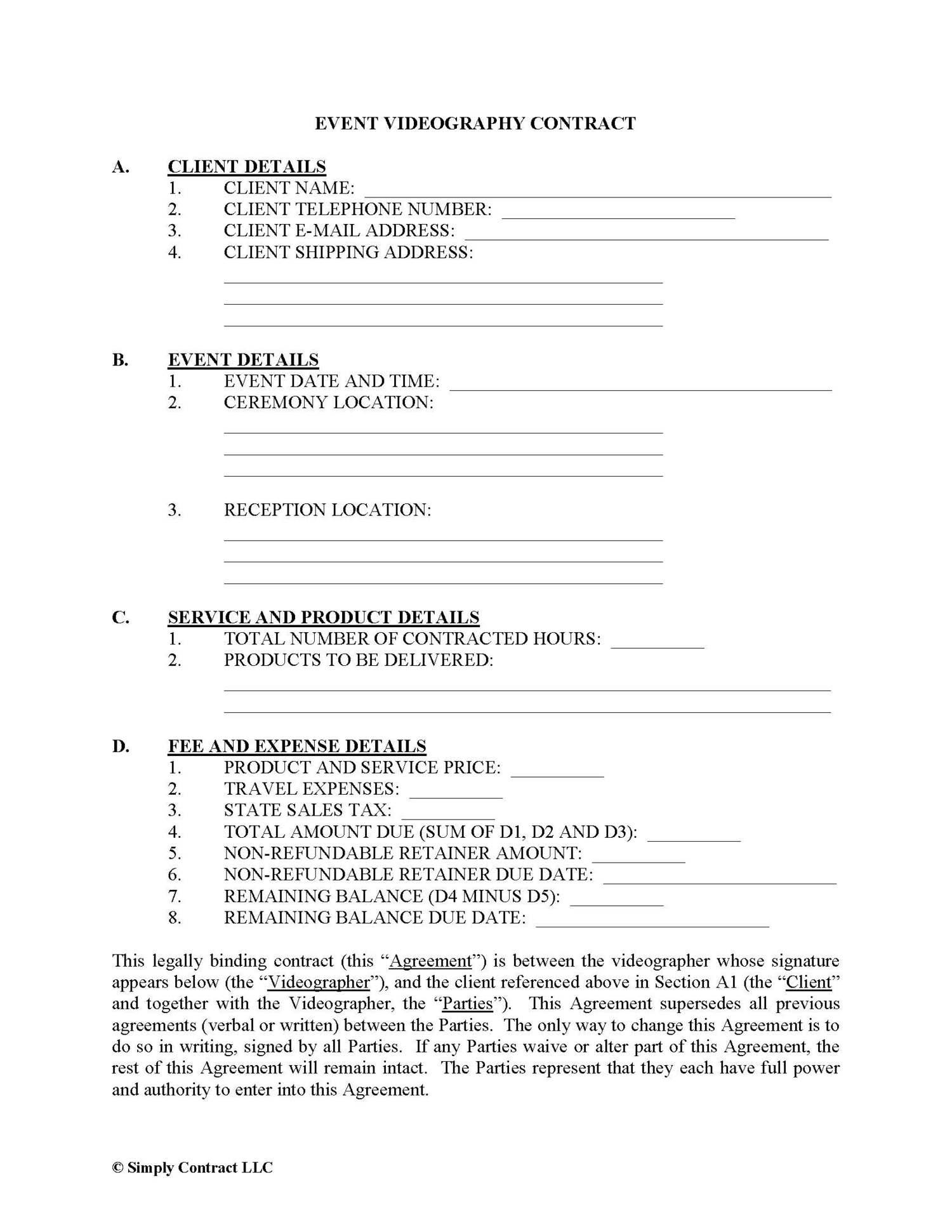Video Clip License Agreement Template & Sample Form   Biztree.com