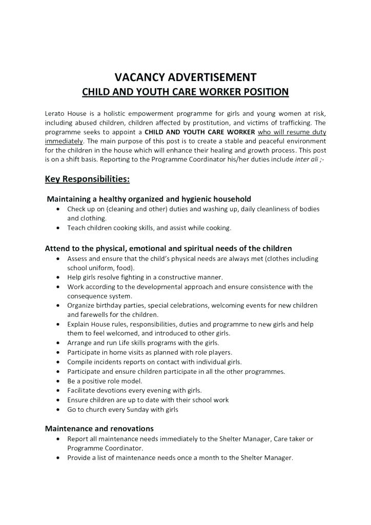 sample youth care worker resume