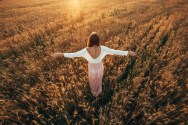 Beautiful brunette smiling girl in wheat field at sunset, rising up hands, back view