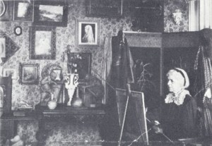 Charlotte M.B. Schreiber, working in her studio at Erindale, Ontario, 1895