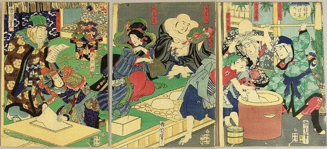 Seven happiness beings making rice cake Kunichika Toyohara 1835-1900