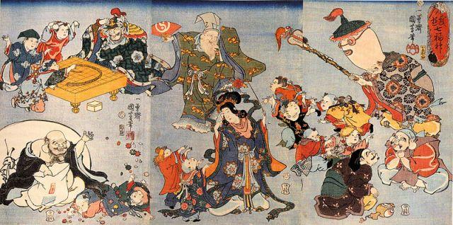 The Seven Lucky Gods in a woodblock print by Utagawa Kuniyoshi