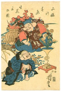 Hotei and Ebisu By Yoshitora Utagawa