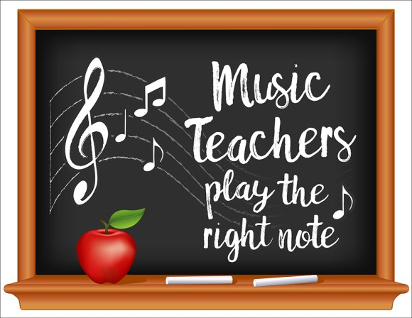 Music Teachers, Chalkboard, Apple