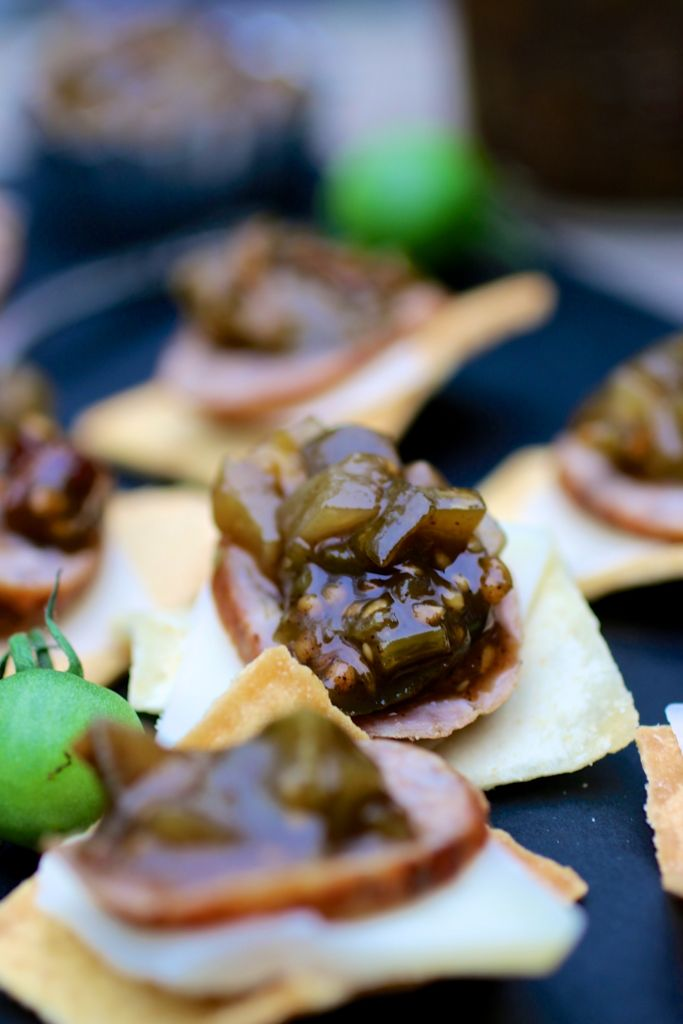 green tomato chutney on cracker