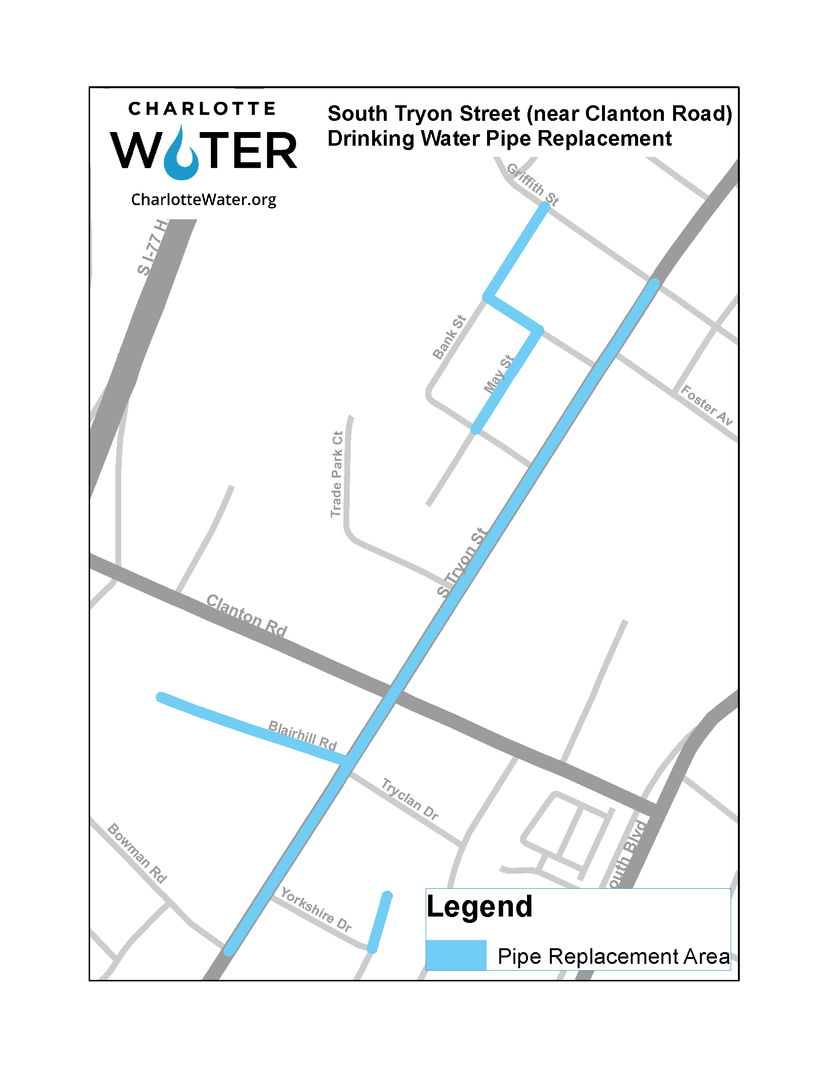 Water Replacement Project for South Tryon Street near