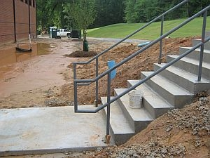 Exterior Ada Handrail Pipe Railings Charlotte Nc   Exterior Handrails For Concrete Steps   Stair   Backyard   Cool   Side Entrance   Old House Porch