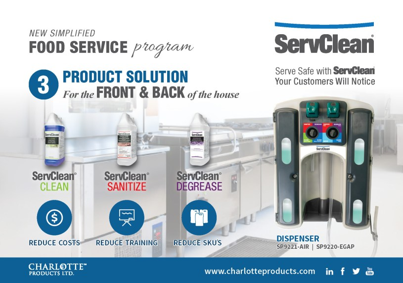ServClean's new simplified food service program. A three product solution for the front and back of the house.