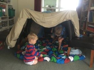 Power went out on a rainy day, so we built a tent@