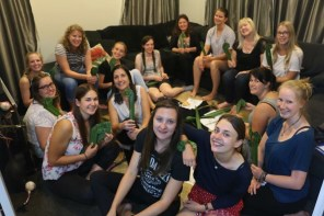 The group of au pairs at the cultural evening