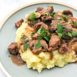Slow Cooker Beef Tips & Gravy