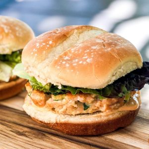 Salmon Burgers with Sriracha Lime Mayo