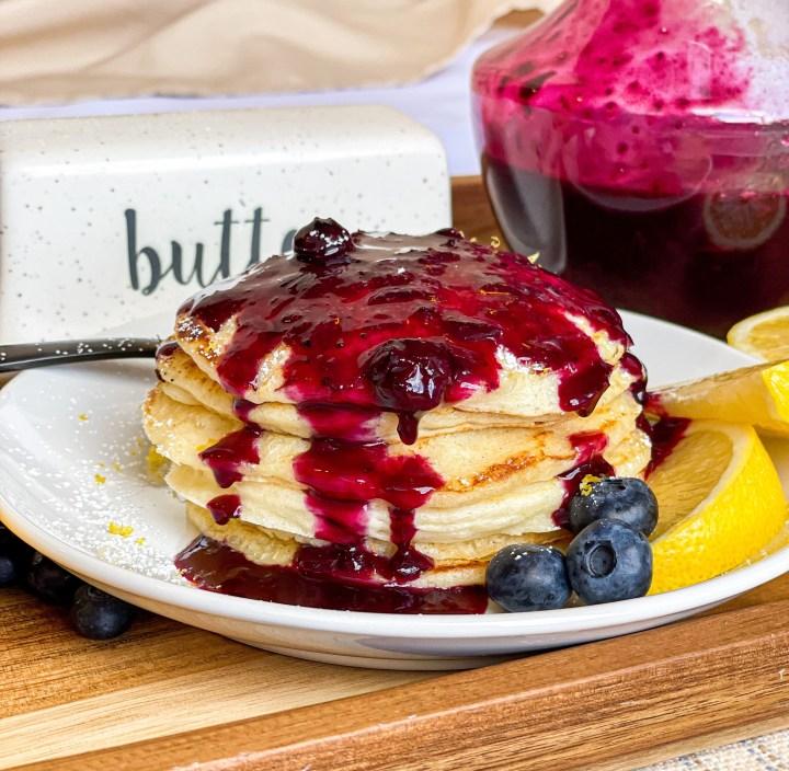Lemon Ricotta Pancakes with Blueberry Syrup