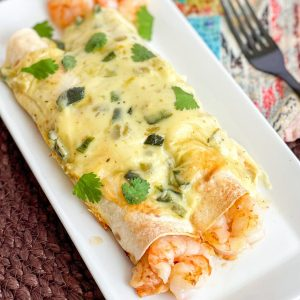 Shrimp Enchiladas with Poblano Cheese Sauce