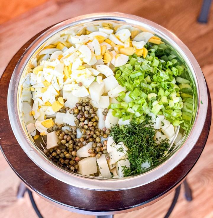 Dijon Dill Potato Salad process