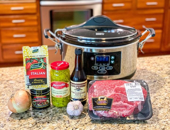 Slow Cooker Italian Beef Hoagies ingredients