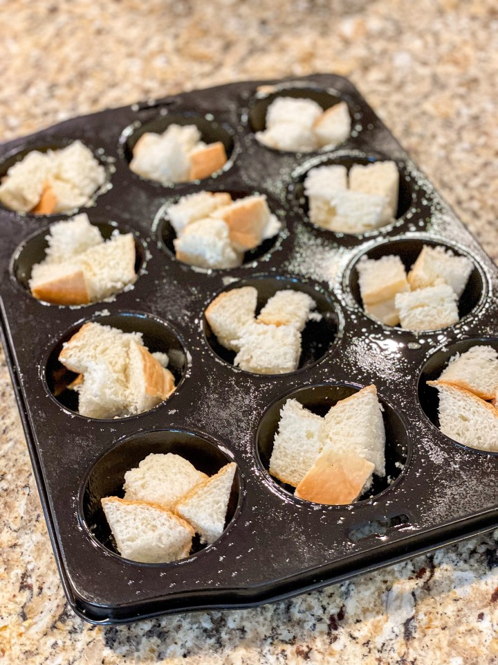 Bruschetta Bread Pudding Cups process