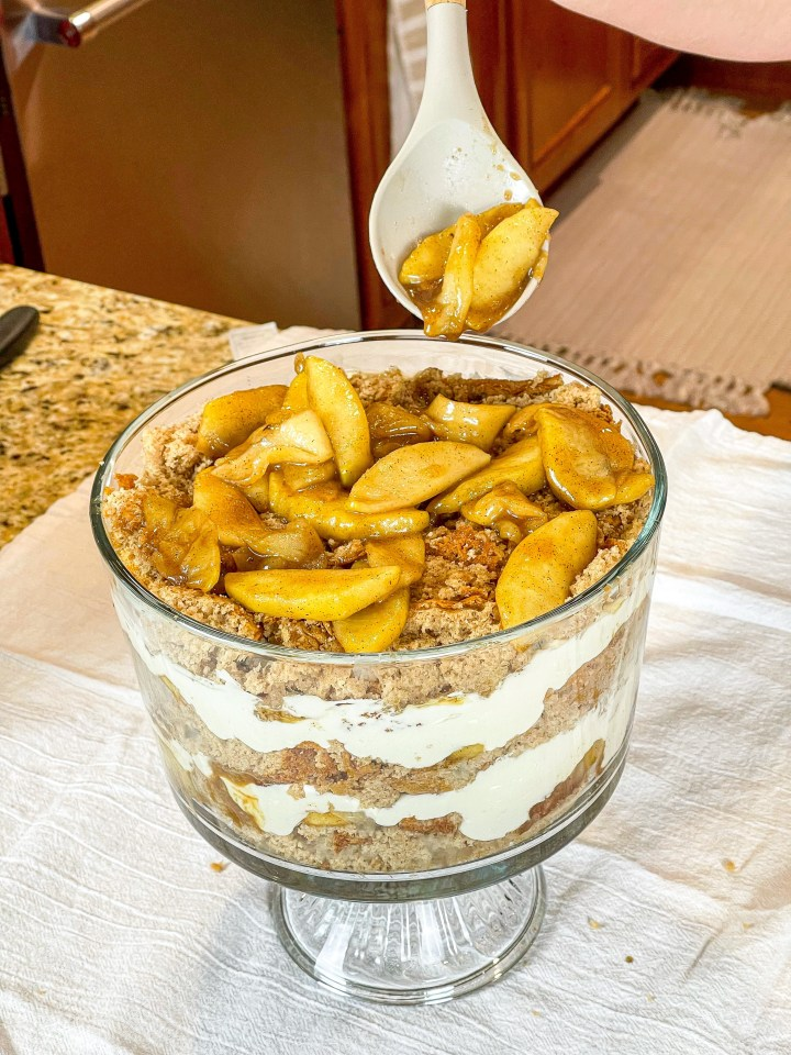 Caramel Apple Cheesecake Trifle assembly