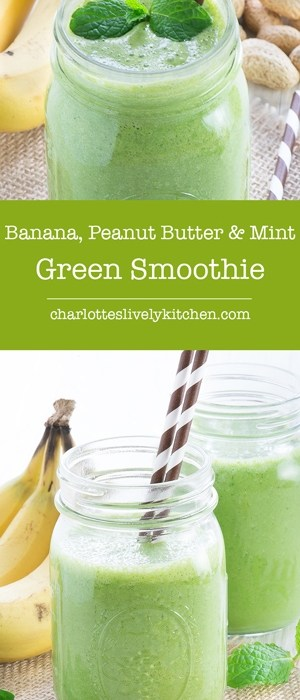 banana peanut butter mint green smoothie pin