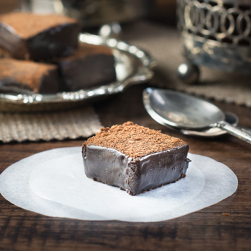 Dark chocolate and salted caramel ganache squares - the perfect indulgent after dinner treat.