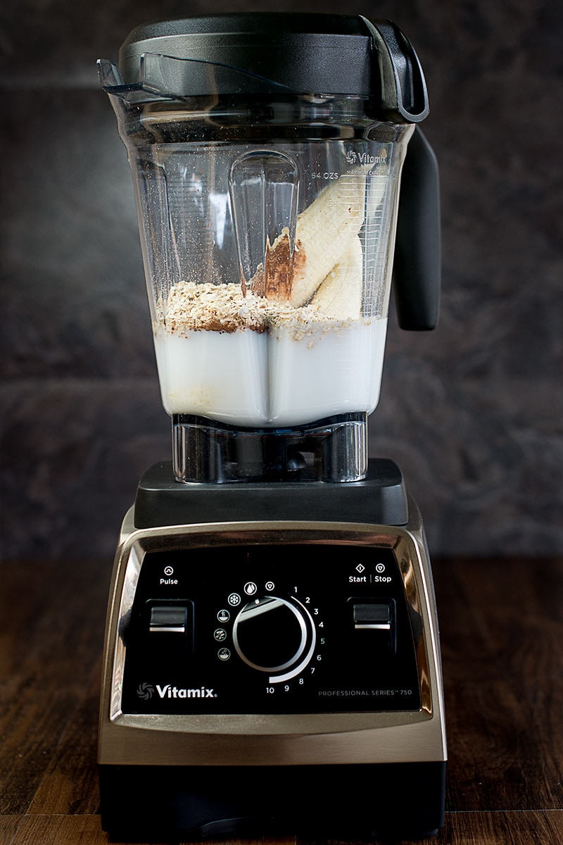My Vitamix ready to make a delicious coconut, banana and chocolate smoothie.