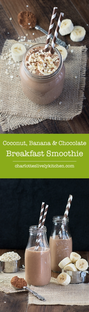 coconut banana chocolate smoothie pin