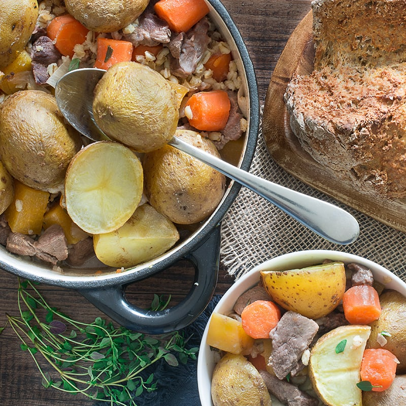 An easy version of the traditional Irish stew. Delicious, filling, half of your 5-a-day and into the oven in only 15 minutes.