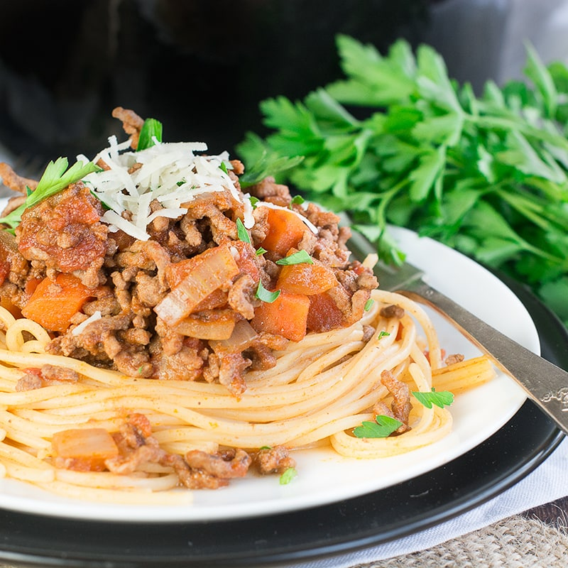 A delicious take on the traditional spaghetti bolognese with under 600 calories and over half of your five-a-day fruit and vegetables in one serving.