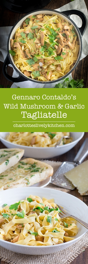 Gennaro Contaldo's delicious recipe for tagliatelle with a quick and easy wild mushroom and garlic sauce. Ready in just 15 minutes so perfect for a quick mid-week dinner and under 250 calories a serving.