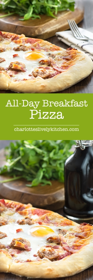 All-day breakfast pizza - delicious homemade pizza dough topped with sausage, bacon, cheese and even a