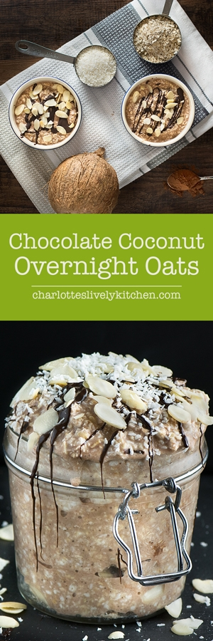 Coconut chocolate overnight oats - Chocolate, coconut, oats and almonds for a quick, healthy and easy to make breakfast. Gluten-Free, Dairy-Free & Vegan