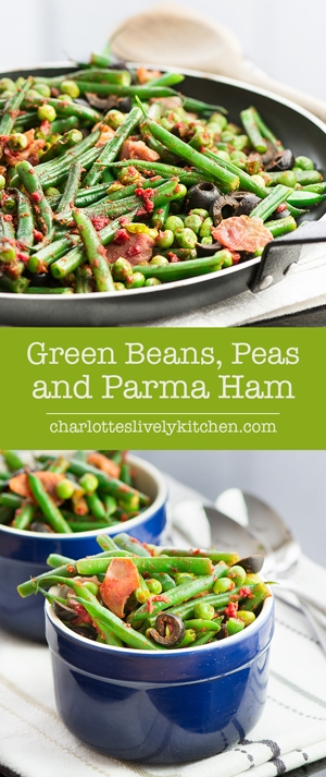 Green Beans, Peas and Parma Ham – A delicious summer side dish. Simple to make and ready in just 10 minutes