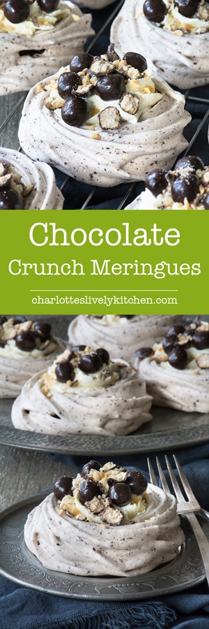 Crisp, yet chewy, chocolate meringue topped with whipped cream, chocolate digestive nibbles and hazelnuts.