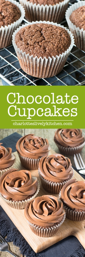 These chocolate cupcakes are easy to make and taste delicious. They get their extra chocolate-y flavour from both cocoa powder and grated milk chocolate. Perfect topped with smooth chocolate buttercream.