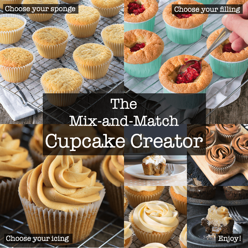 Create your own perfect cupcake recipe. Choose your sponge, choose your filling, choose your icing and enjoy!