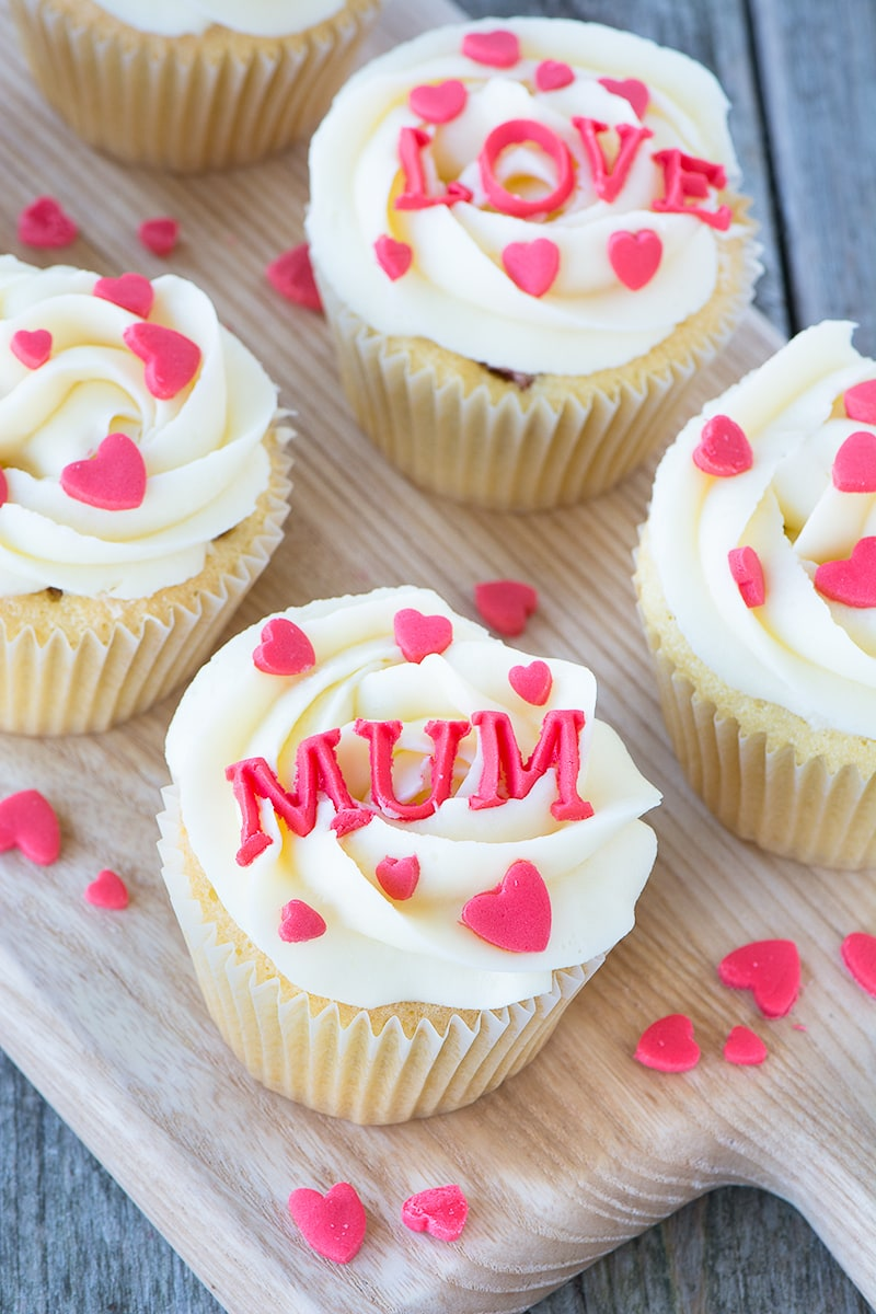 The perfect cake for someone you love - vanilla cupcakes with a hidden heart centre.