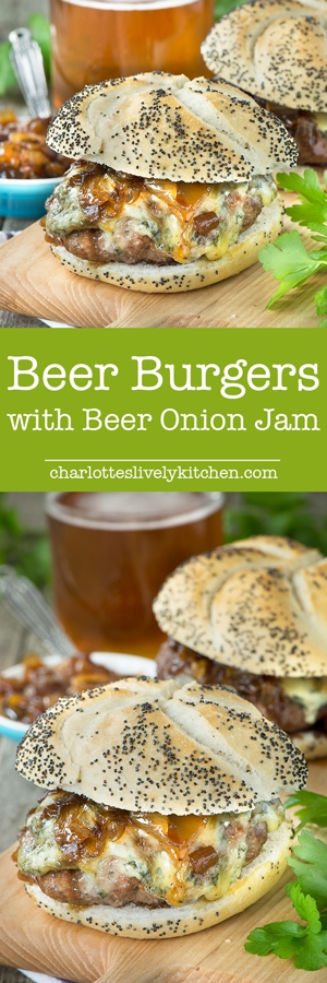 Take your burgers to the next level by adding a little beer and serving them with delicious, homemade beer onion jam and melted cheese. Perfect for summer barbecues.