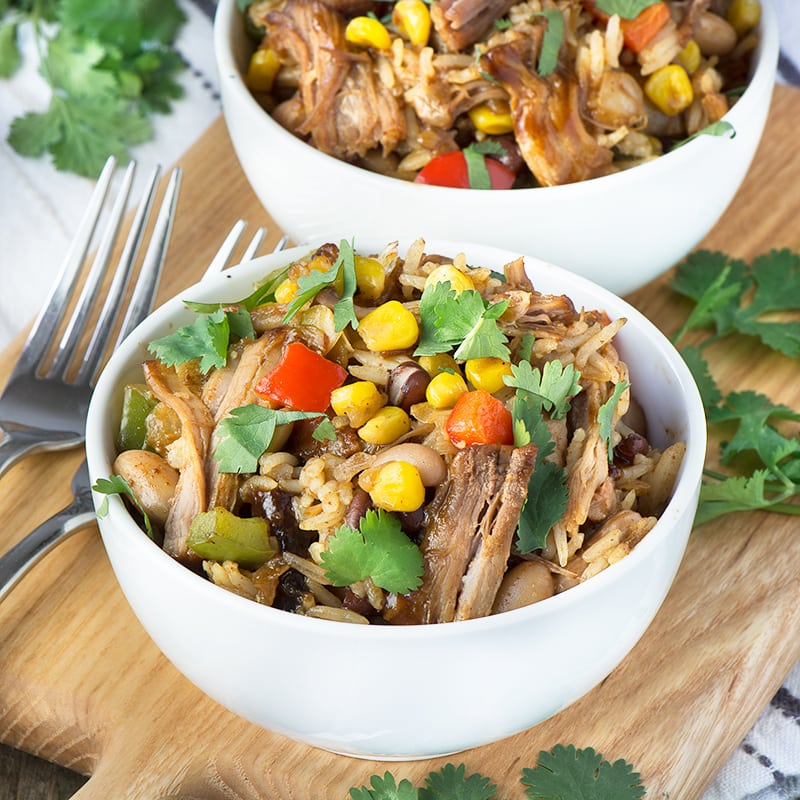 Delicious Mississippi smoked pulled pork served with rice, beans and vegetables. Plus ideas for using up any leftovers and my top tips for reducing food waste.