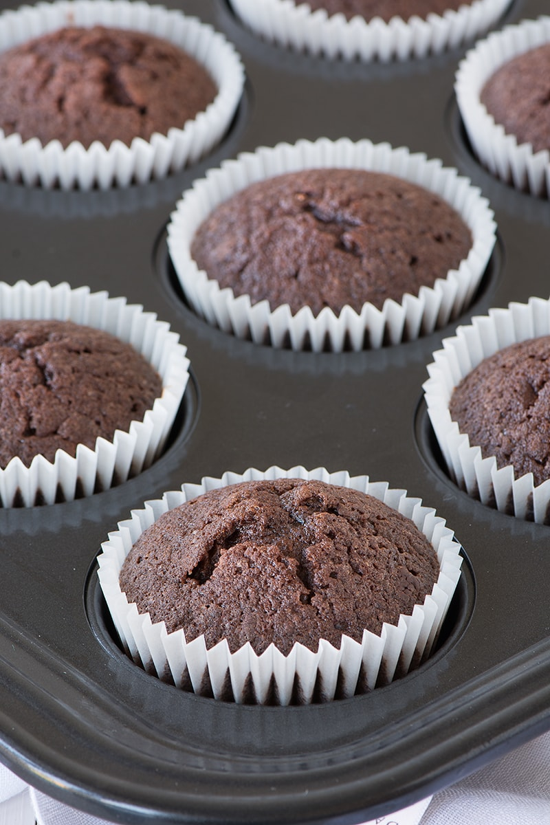 "You'd never guess that these easy chocolate cupcakes have no dairy, so they're perfect if you've got an allergy or intolerance. The recipe can also be used to make a 7"" chocolate cake too."