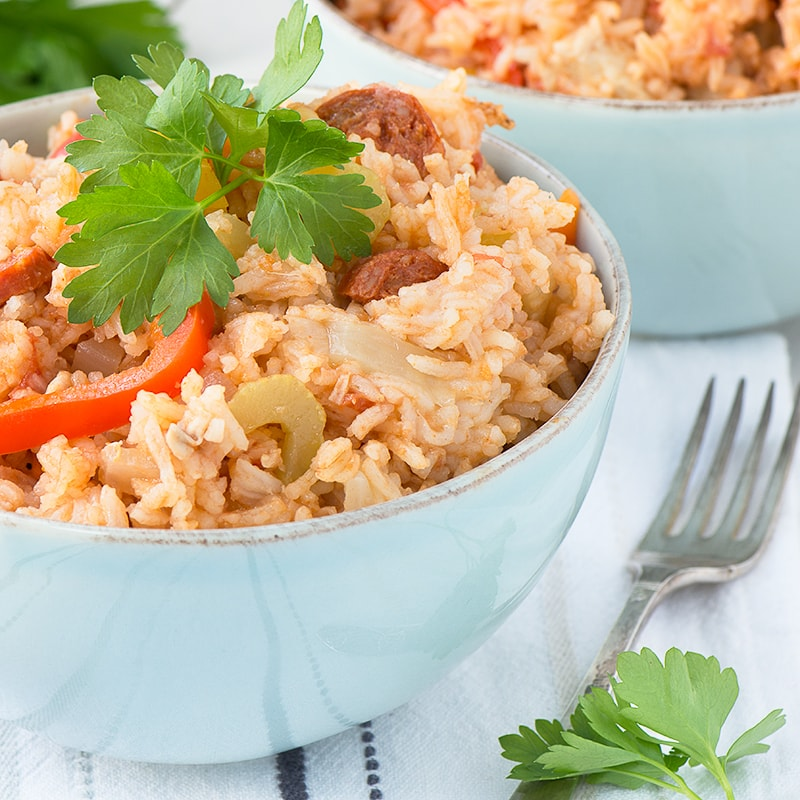 This homemade chicken jambalaya has a delicious, fresh flavour. Perfect for dinner any night of the week.