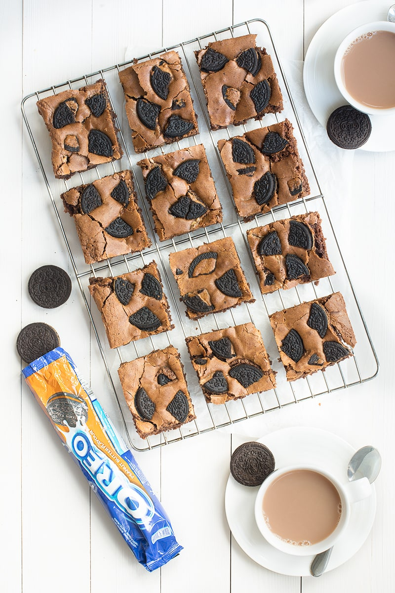 Delicious milk chocolate brownies, topped with Peanut Butter Flavour Oreos and swirled with crunchy peanut butter.