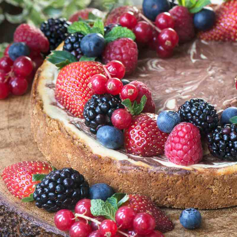 Baked chocolate marble cheesecake topped with fresh fruit.