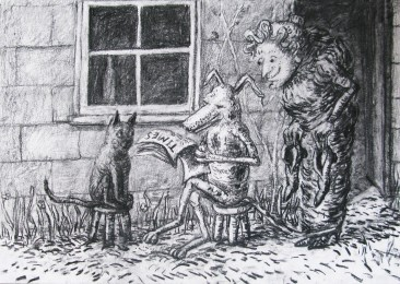 Drawing from The Comic Adventures of Old Mother Hubbard and her Dog by Artist Charlotte Steel