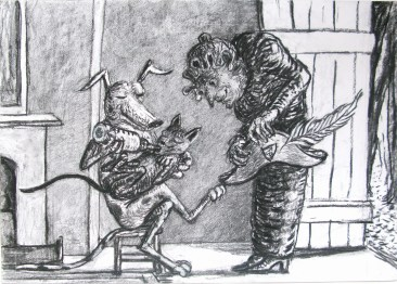 Drawing by Artist Charlotte Steel from The Comic adventures of Old Mother Hubbard and her Dog