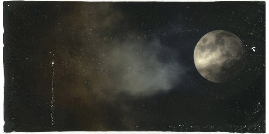 Cirrocumulus with Harvest Moon