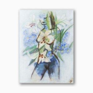WomanFlower FeelingGreen Wall