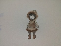 I bought watercolour paper and tested the girl character on it - I decided I really liked how this character test came out, and so I would aim to recreate it!